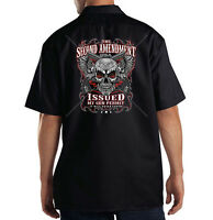 The 2nd Amendment Issued My Gun Permit Skull Wings Dickies Mechanic Work Shirt