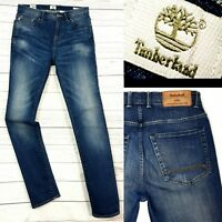 Mens TIMBERLAND Skinny Stretch fit distressed fade look  blue jeans size W30 L32