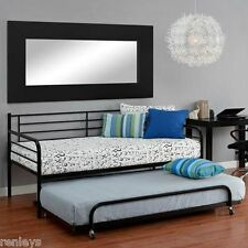 Guest or Kids Room Trundle Bed Black Twin Metal Sleepover Bunk Pullout Sleeper