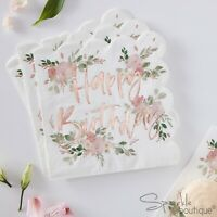 HAPPY BIRTHDAY NAPKINS with Rose Gold Script, Floral Background & Scalloped Edge