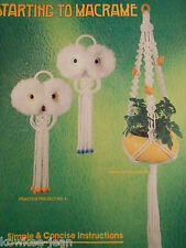 Starting to Macrame: OWL, plant hangers, hangings, VINTAGE 80s booklet, see pics