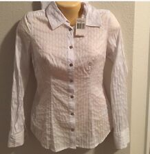 Guess Jeans White Long Sleeve Button Down Top S Small Professional Work A101