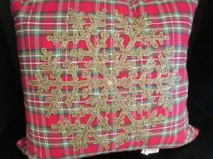 "Christmas Beaded Snowflake Decorator Pillow, 18"" Square, NWT"