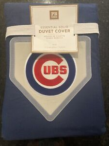 NEW PB Pottery Barn Teen Twin Chicago Cubs MLB Navy Blue Duvet Cover