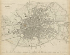 DUBLIN antique town city map plan. Key buildings profiles. SDUK 1844 old