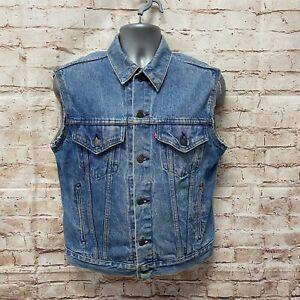 Vintage LEVIS 70508-0214 Denim Trucker Sleeveless Jacket - Size S/M  - Fast P&P