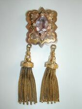 ANTIQUE VICTORIAN GOLD DANGLE TASSEL AMETHYST BROOCH / PENDANT M. VAN EPS