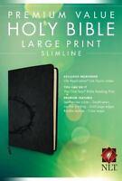 Premium Value Slimline Bible-NLT-Large Print Crown (Leather / Fine Binding)