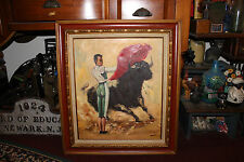Vintage Matador & Bull Oil Painting On Canvas-Signed Daviolu-Bullfight Painting