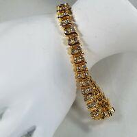 "Gold Tone Double Row Rhinestone Tennis Bracelet 7.5"""