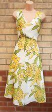 Vestido de verano Crema Blanca Amarillo Verde Floral Escote en V sin mangas una línea Midi 18