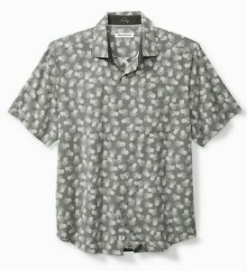 Tommy Bahama Positano Pineapples Camp 100% Cotton Mens Shirt Graphite M NWT
