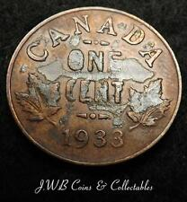 1933 George V Canada 1c One Cent Coin