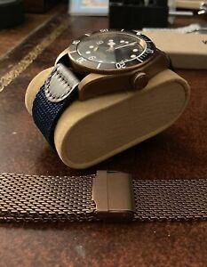 41mm Corgeut Black Bay Homage Bronze PVD auto w/sapphire, strap+ mesh bracelet