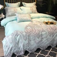 Luxury Egyptian Cotton Embroidered Bedding Set  Noble Lace Bed Sheet Set /6pcs
