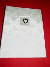 Wedding Album White Satin Silver Heart Charm Holds 100/4X6 pictures