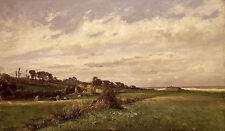 Oil painting carlos de haes - praderas villerville landscape with village canvas