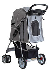 Pet Travel Stroller Dog Cat Pushchair Pram Jogger Buggy With 4 Wheels Black