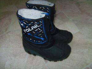 POLAR Kinder Jungen Schnee Gummi Stiefel Winter Blinkschuhe Blau Gr 26