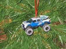 Jada 2011 Ford F-150 SVT Raptor Blue Custom Christmas Ornament  w/tree,snow R