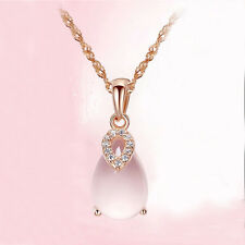 Charm Woman Rose Gold Plated Crystal Pink Lotus Stone Pendant Necklace New