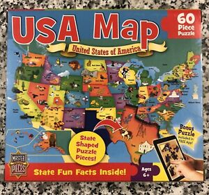 """MasterPieces """"USA Map"""", 60 Piece, State Shaped Jigsaw Puzzle, 6.5"""" X 12.75"""", NEW"""