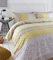 BANDED FLORAL BIRD YELLOW GREY SINGLE COTTON BLEND REVERSIBLE DUVET COVER