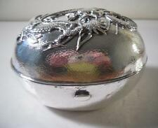 An Antique Japanese Silver Soap Box With Applied Dragon: Japan c1880
