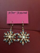 Huge Betsey Johnson Snowflake Earrings- Blue Gold