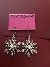 Huge Betsey Johnson Snowflake Earrings- Blue Gold