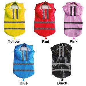 Pet Dog Puppy Raincoat Hooded Rain Coat Waterproof Jacket Raincover Cloth Coats