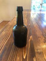 Antique Amber Brown Johann Hoff Philadelphia PA Blob Top Squat Beer Glass Bottle