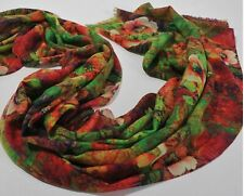 Pure Merino Wool Women Floral Warm Thick Scarf Shawl Wrap Stole - Red Green