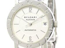 Polished BVLGARI BVLGARI-BVLGARI Platinum Pt950 Quartz Watch BB33PL (BF301694)