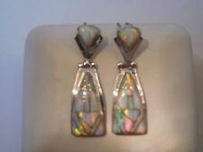 White Sunset Pink GLOW FIRE OPAL Drop Dangle Sterling Silver 925 Earrings