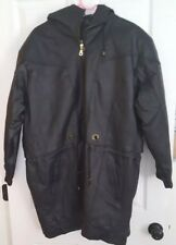 Vintage Women's Fashion Element Leather Jacket Size Large black hooded zipper