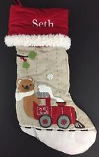 POTTERY BARN KIDS CHRISTMAS WOODLAND STOCKING BEAR TRAIN *SETH* NEW RED RAILROAD