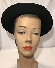 Vintage 1930s 1940s Haverhill Black Wool Felt Wide Brim Cloche Hat