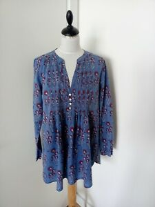 EAST with FABINDIA Indian cotton handblocked tunic top blue & red floral UK 12 *