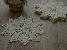 Set 3 Hand Crochet Floral Doilies Ecru French Country Coasters Lot