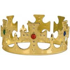 Gold Medieval King Jewel Crown Prince Royalty Queen Tiara Costume Prop