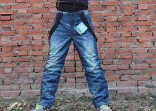 Men's Ski Snow Pants Denim Thick Warm Waterproof Outdoor Snowboard Jeans W/Bib