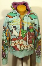 men's Christian Audigier Ed Hardy hoodie hoody sweatshirt TRUE LOVE size MEDIUM