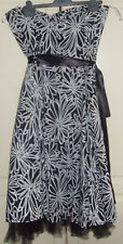 Black & white, patterned, strapless dress, with taffetta underskirt. size 16. VG
