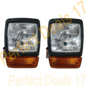 JCB BACKHOE FASTRAC DUMPERS FRONT HEADLIGHT PAIR WITH H4 BULB & INDICATOR ASSLY