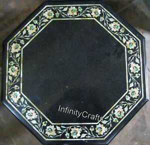 30 Inches Marble Coffee Table Top Marquetry Art Sofa Table for Living Room Decor
