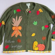 Quacker Factory Fall Leaves Autumn Sweater 2X  Green Teacher Cardigan