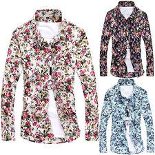 CO_ Men's Floral Print Shirt Casual Slim Fit Long Sleeve Lapel Button Top Ornate