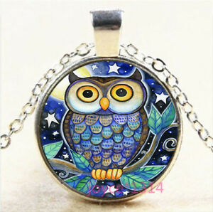 Moonlight OWL Cabochon Tibetan silver Glass Chain Pendant Necklace#7001