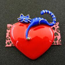 Women's Blue Red Enamel Heart Lovers Cat Betsey Johnson Brooch Pin